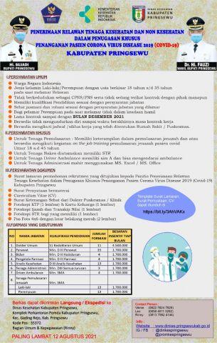 Rekruitmen Penerimaan Relawan Tenaga Kesehatan dan Non tenaga Kesehatan dalam Penugasan Khusus Penanganan Covid-19 Kabupaten Pringsewu